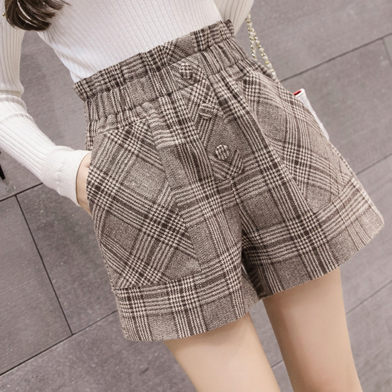 Autumn elastic high waist tweed Plaid Shorts wide leg 150cm155 small short high winter casual pants