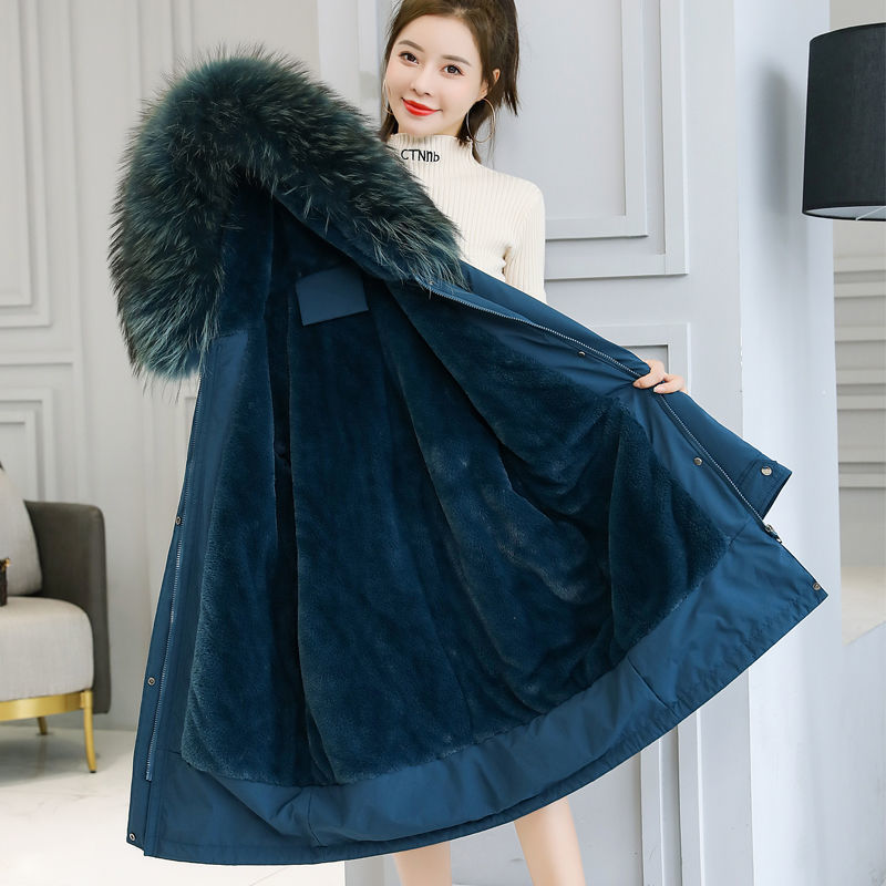 Plush thickening school overcomes womens middle and long coat winter cotton coat new winter cotton coat coat coat cotton coat in 2021