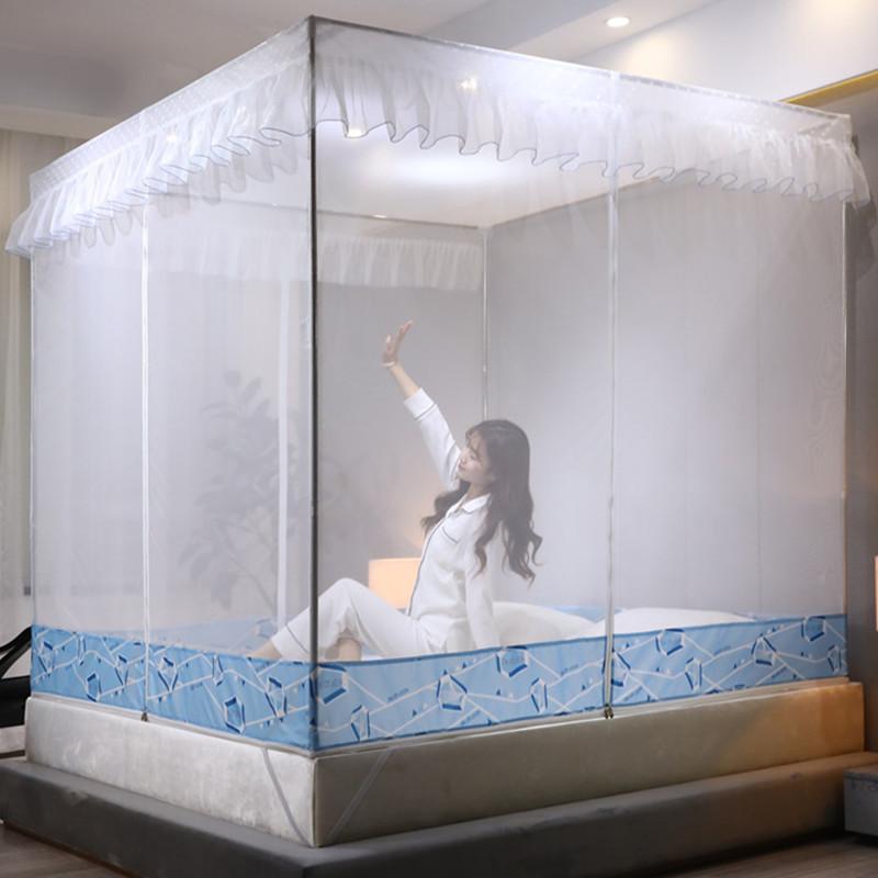 夏季蚊帐1.8m公主蚊帐纱布料坐床式1.5蒙古包米床方顶双人家用m