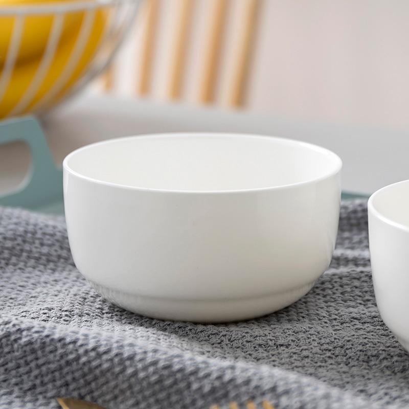 纯白骨瓷景德镇家用中式米饭碗