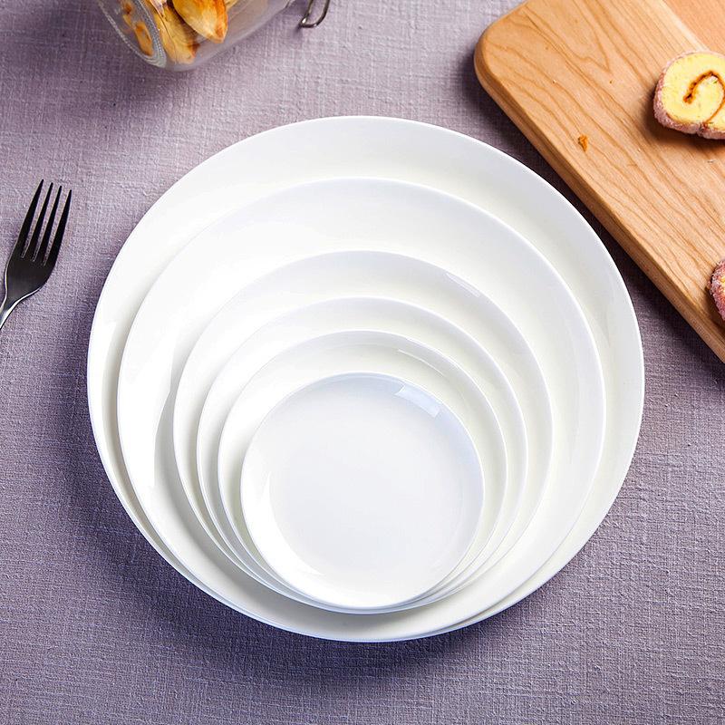 纯白骨瓷盘子景德镇陶瓷餐具西餐盘盘菜盘凉菜碟大号盘牛排餐具盘