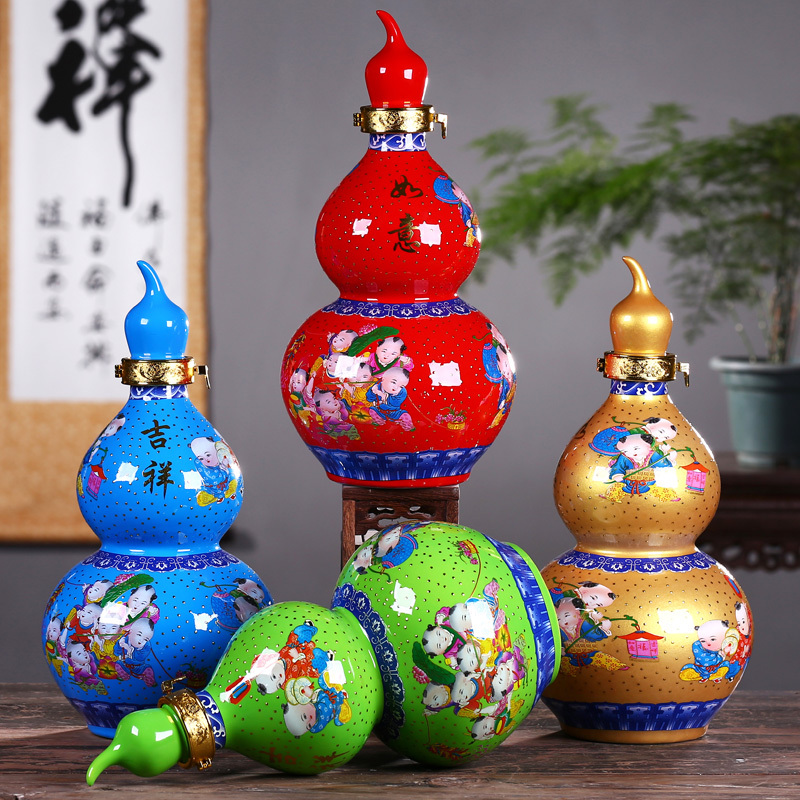 1 jin, 2 jin, 5 jin, 10 jin, Jingdezhen Ceramic gourd wine bottle, wine jar, wine pot, sealed wine pot, empty bottle, wine set