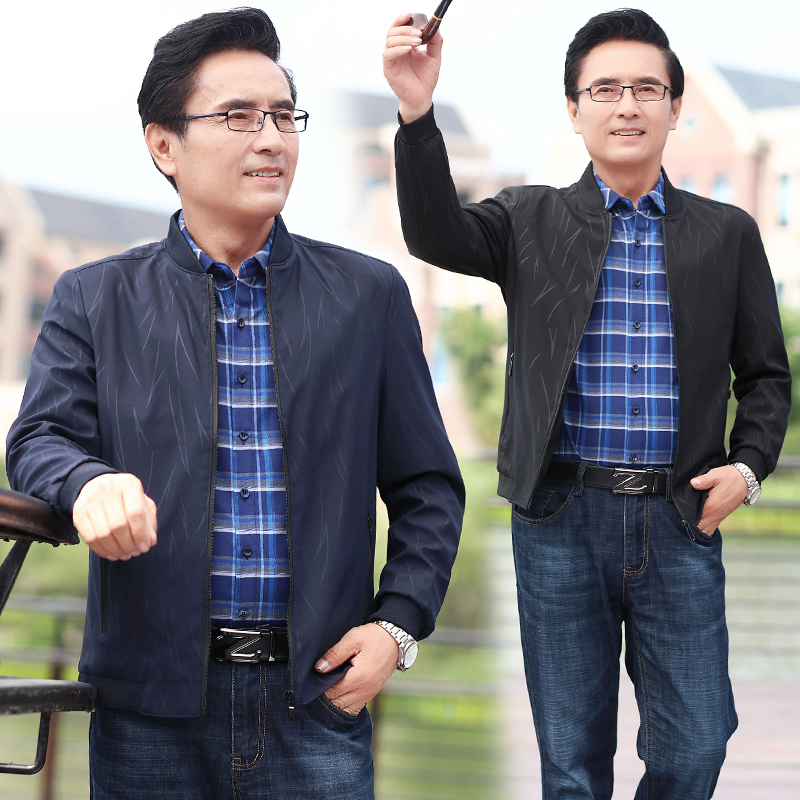 Very fashionable little old man wears dark pattern small jacket, male 40-50, middle-aged mans thin jacket, more than 60, fathers spring