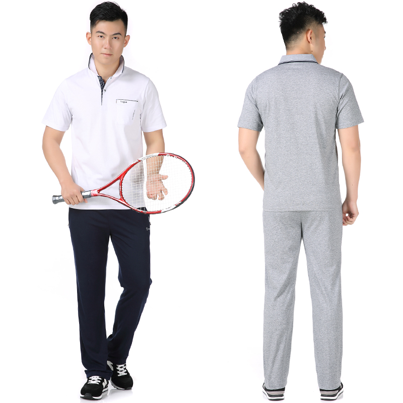 Mens Lapel short sleeve T-shirt trousers sportswear suit middle-aged and old dads wide top is more elastic and fat