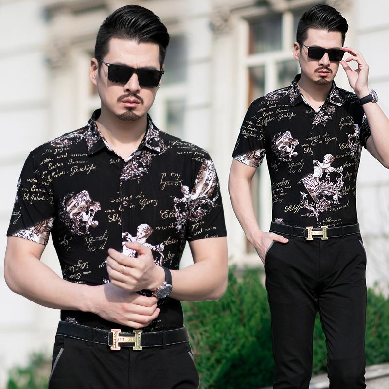 男士短袖48-55-60父亲节礼物夏季男中年短袖花衬衫爸爸装衣服。