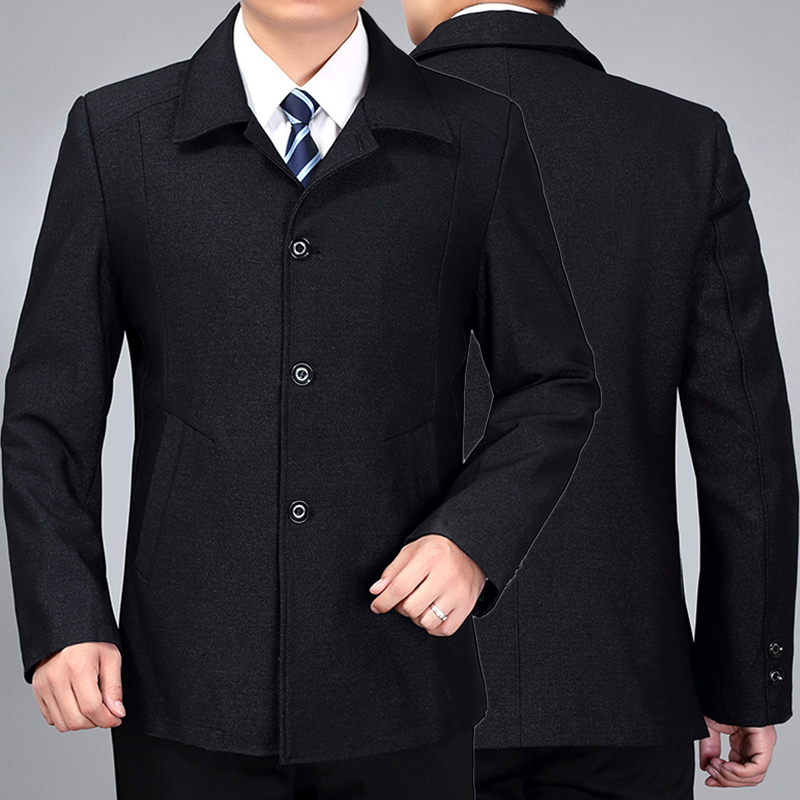 Spring and autumn mens Lapel Blazer button jacket middle-aged and old father-in-law business casual coat wide and fat
