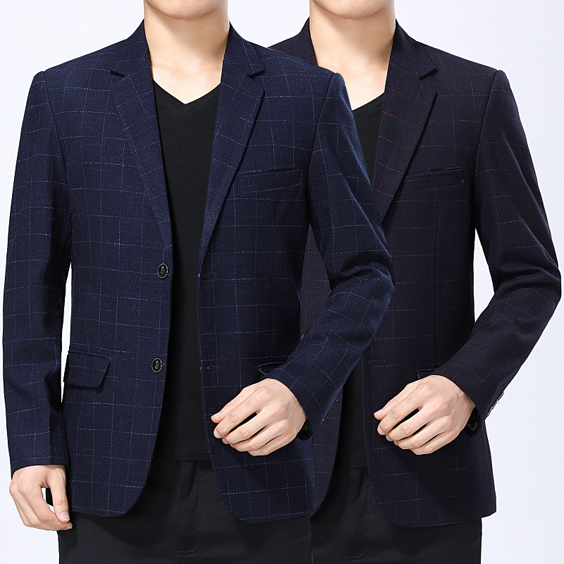 Mens spring and autumn new mens two button Plaid casual suit middle aged mens suit coat mens business casual suit