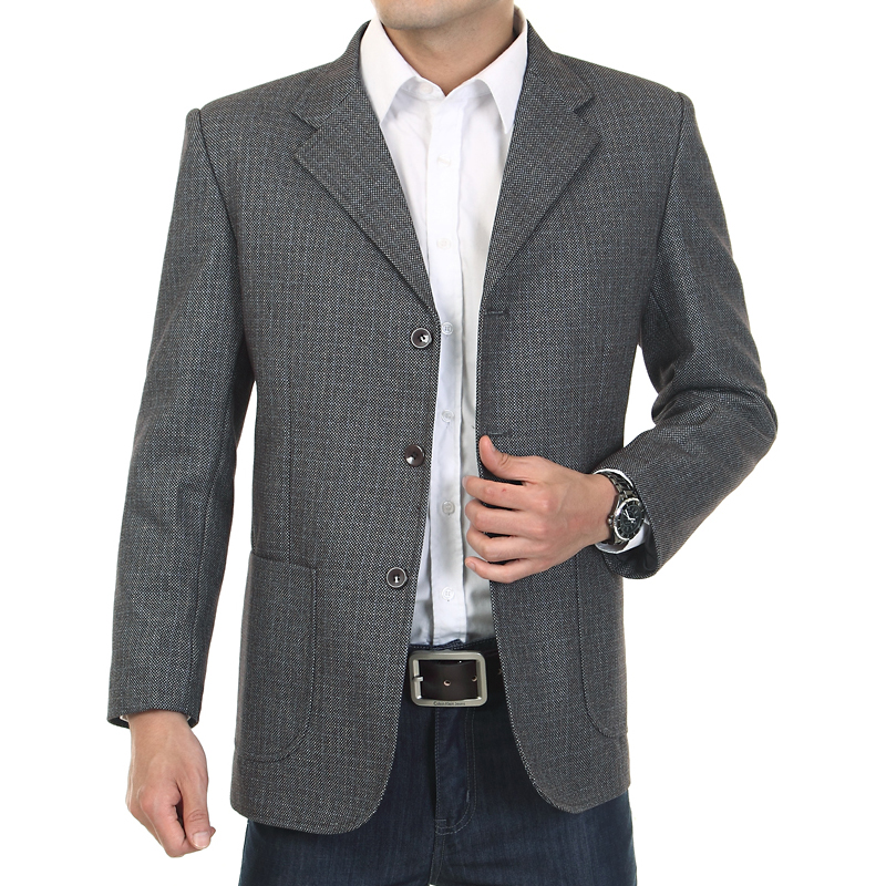 Mens Plaid suit, middle-aged and old mens business casual suit, loose formal coat, fattening and defecating suit