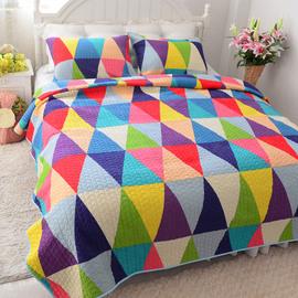 美式衍缝被榻榻米床盖单件夏季绗缝被水洗纯棉夹棉床单空调被全棉