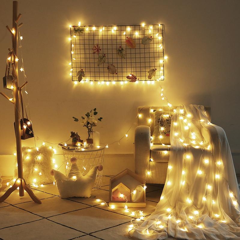 圣诞节星星灯饰网红女卧室装饰用品布置圣诞小彩灯闪灯串灯满天星