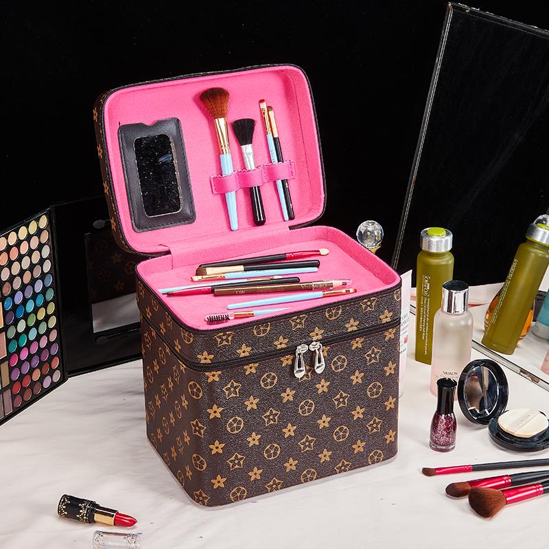 包邮大容量便携旅行双层可爱少女化妆箱