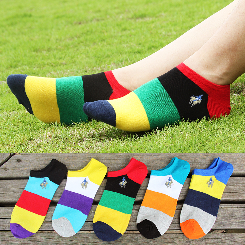 Pilpaul Polo socks mens boat socks summer thin pure cotton deodorant socks color low top sports cotton socks
