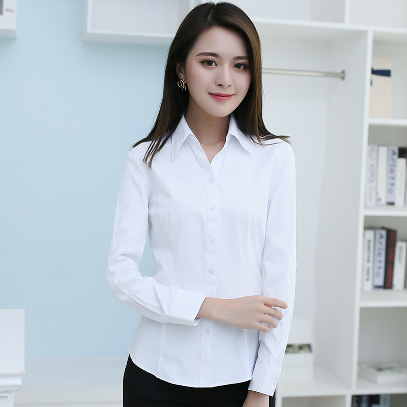 Haopai spring and autumn white shirt womens long sleeve professional dress, slim fitting, solid color work clothes, work clothes, large size shirt