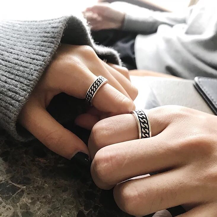DW zone exclusive S925 Sterling Silver generous simple retro adjustable ring for men and women