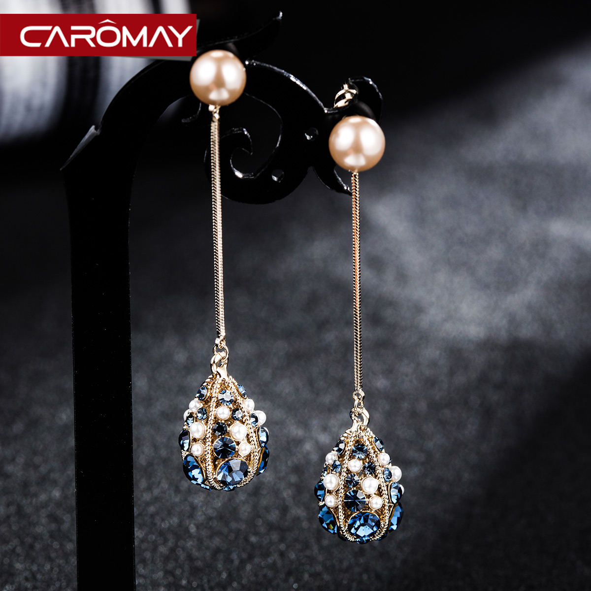 Baroque retro style earrings female long tassel earrings classic net red temperament high sense of thin face earrings