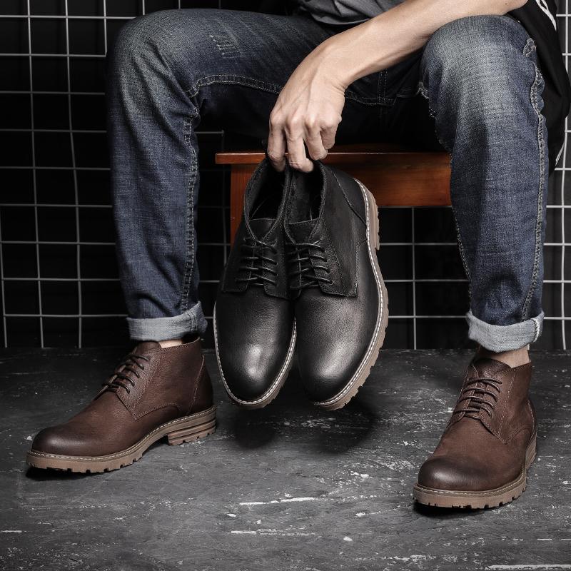 秋季马丁靴男潮高帮鞋真皮短靴男士百搭靴子中帮复古英伦工装冬季