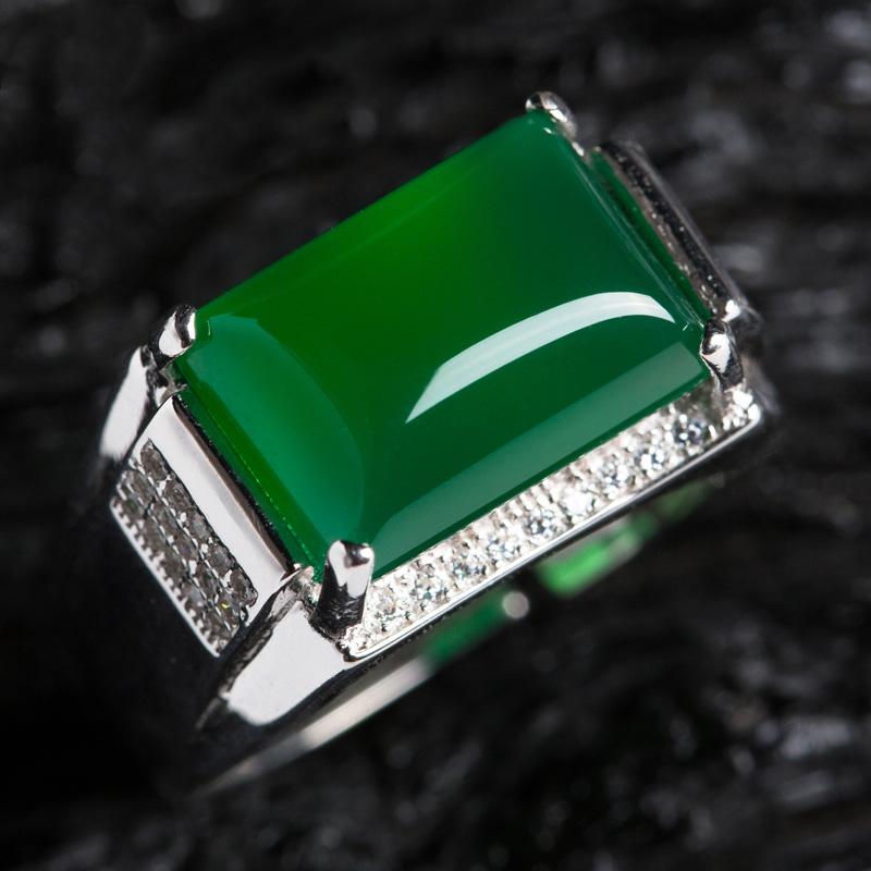 天然玛瑙戒指男士玉髓祖母绿宝石戒指活口指环925银情侣戒指一对