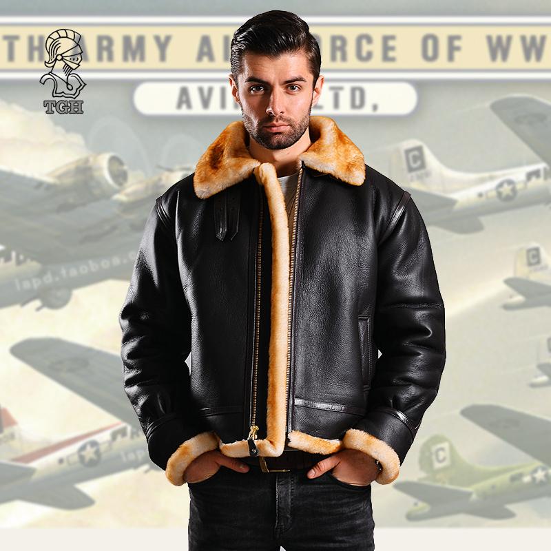 美国原装进口正品全新B3飞行真羊皮毛一体皮衣二战特别厚版B-3