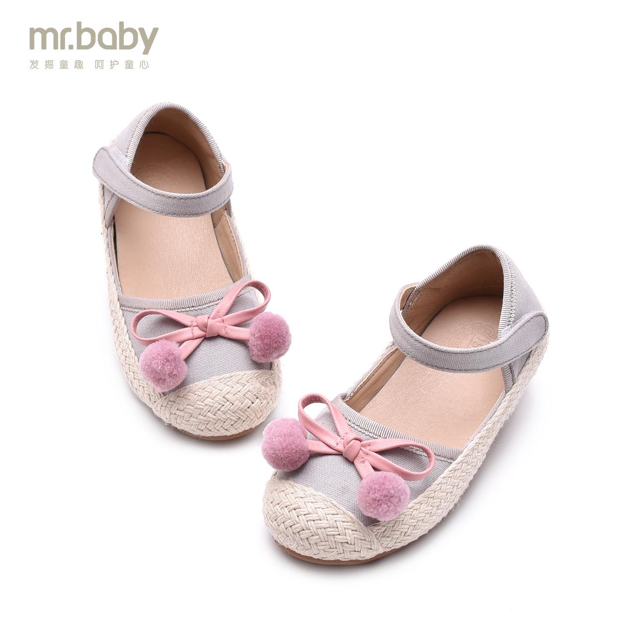 Mr.baby оригинал обувь 2018 новая весна статья цвет hit милый маленький hairball бант холст полый обувной