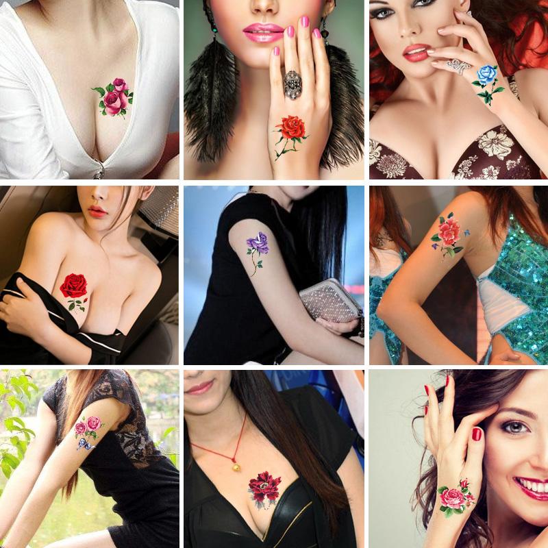 16张性感纹身贴纸防水女持久玫瑰花朵逼真脚踝仿真文身纹身贴韩国