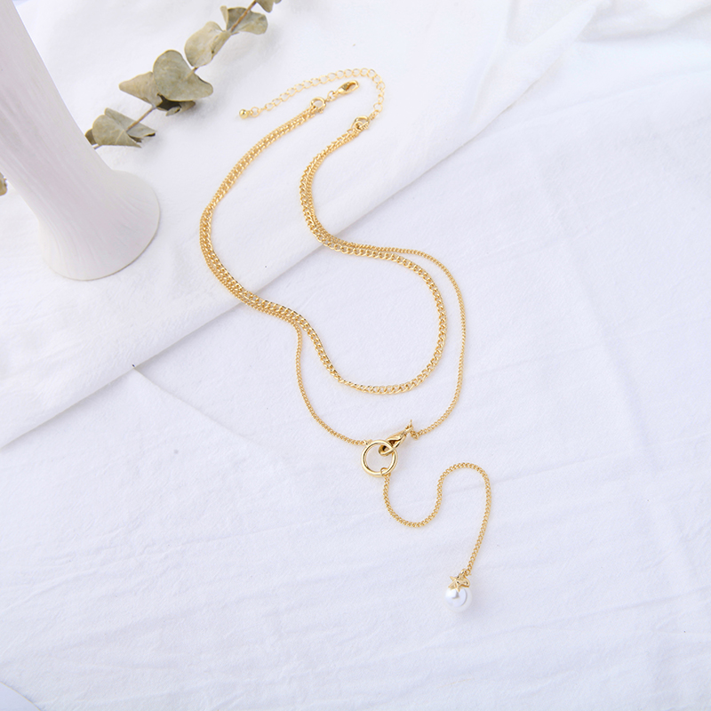 Long Tassel Necklace womens double layer chain collar bone chain necklace womens trendy temperament Japanese and Korean Retro