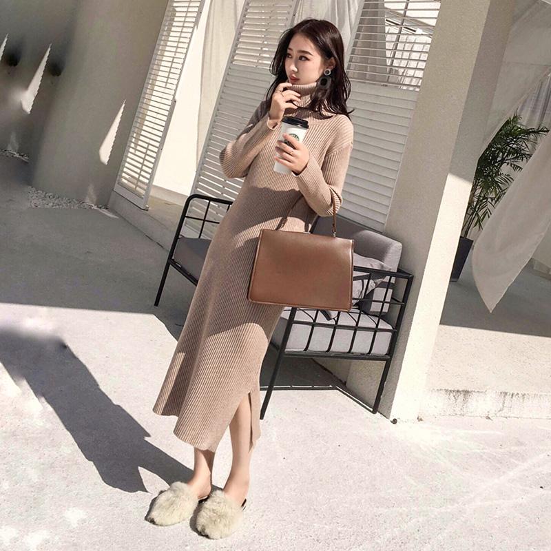 Длинная модель бедро свитер юбка 2017 корейская новая версия модель осень - зима минимума юбка упаковать низ высокий воротник вязание платье тонкий