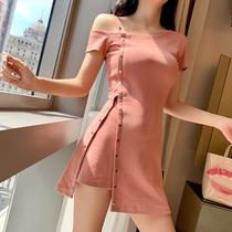禾可可2019夏天新款露肩吊带性感裙子不规则连衣裙女收腰显瘦气质