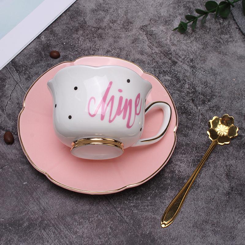 12月01日最新优惠欧式少女描金波点咖啡杯结婚茶杯