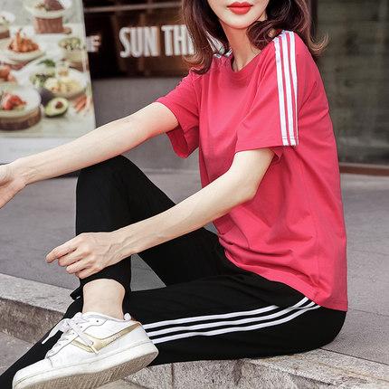运动套装女夏装2019新款套装纯棉宽松休闲健身服短袖七分裤两件套