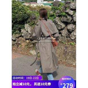 风衣女韩版 翻领大衣 长袖 春装 2020宽松长款 过膝卡其色外套休闲大码