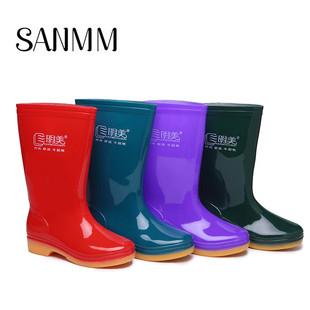 加绒中筒防水雨靴防滑保暖耐磨女水鞋 劳保鞋 三明美雨鞋 女冬季 0902