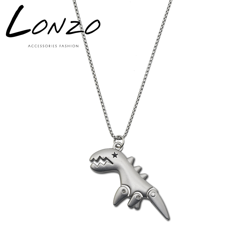 TikTok necklace, little dinosaur cartoon pendant hip-hop net red jitter in long chain of same type titanium steel men and women sweater