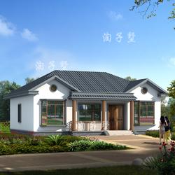 农村小别墅设计图纸 一层别墅中式乡村豪华自建房带堂屋现代风030