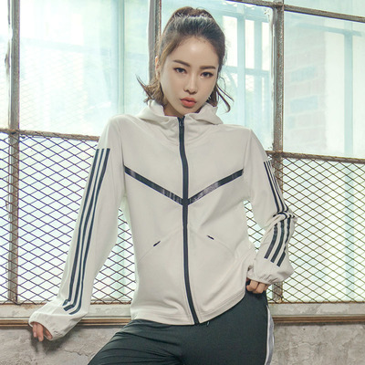 Sports casual jacket coat women loose hooded with mask mid-length top running jacket zipper pocket