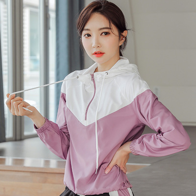 Hooded running jacket half zipper fitness top outdoor casual wear hooded sports jacket color matching yoga clothes women