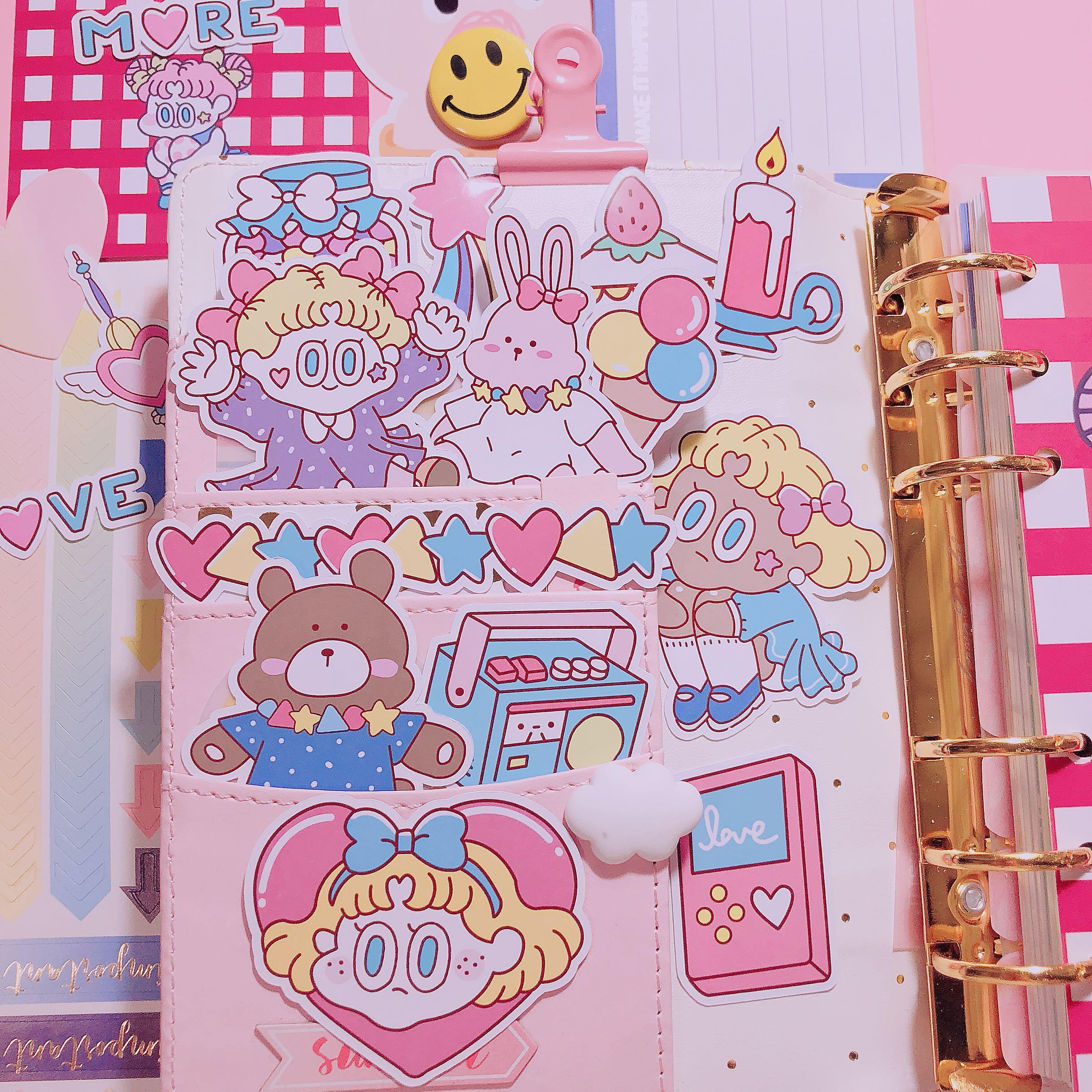 韩国ins粉色少女风甜美可爱女孩手账本贴纸日记装饰粘纸手机贴