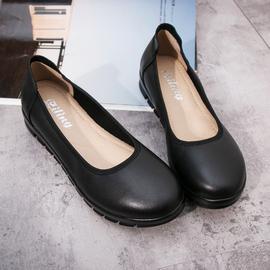 久站软底工作鞋女黑色工鞋圆头皮鞋平底上班鞋职业真皮舒适空姐鞋图片
