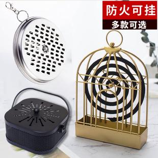 创意蚊香炉带盖防火家用挂式户外便携式蚊香盘托盒铁艺鸟笼蚊香架