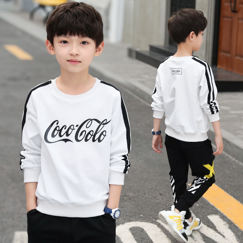Boys autumn sweater 2021 new spring childrens wear Zhongda childrens foreign sports T-shirt boys Korean top