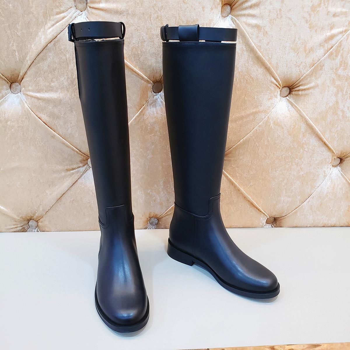 全牛皮~ANN骑士靴真皮平底高筒靴网红长靴不过膝靴长筒马靴女皮靴