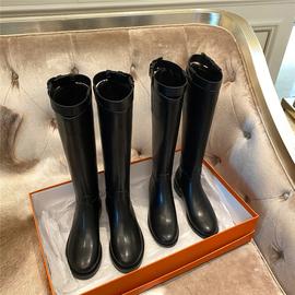 羊皮版~真皮平底骑士靴高筒靴长筒靴牛皮高跟不过膝长靴马靴女冬