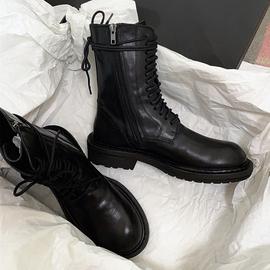 头层牛皮~真皮系带平底侧拉链马丁靴英伦风厚底中筒靴骑士短靴女