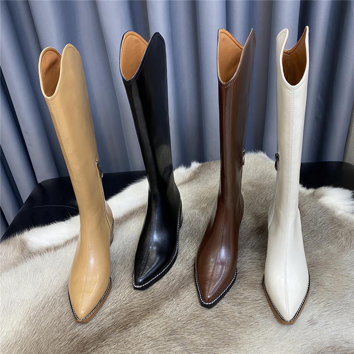 头层牛皮版~真皮V口西部牛仔靴女高跟尖头骑士靴长靴高筒靴长筒靴