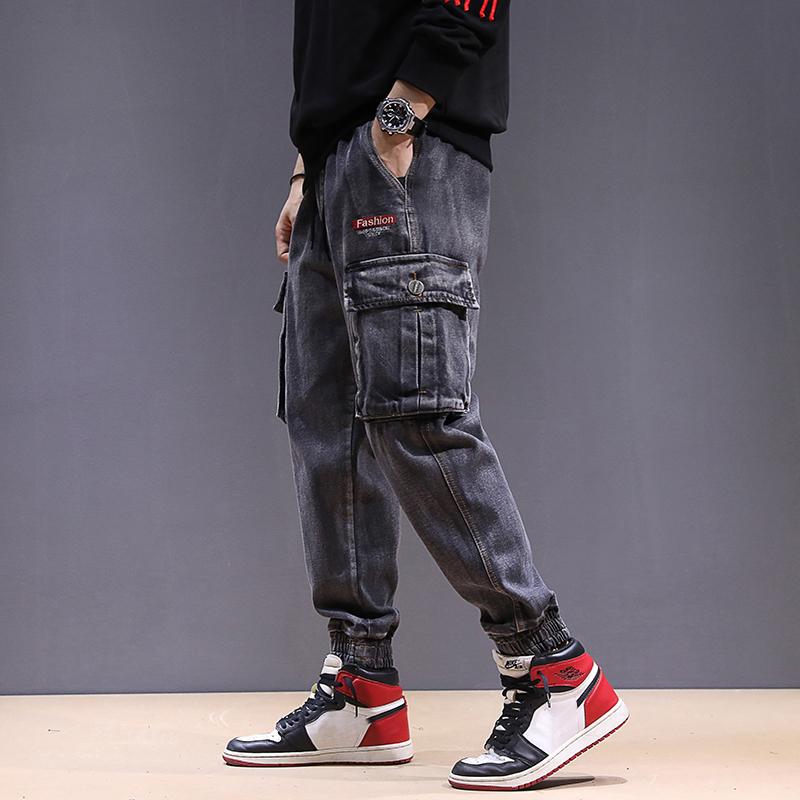 Youth stretch plus plus oversize elastic waist small leg Hip Hop Pants Harem Pants mens Leggings Multi Pocket Jeans