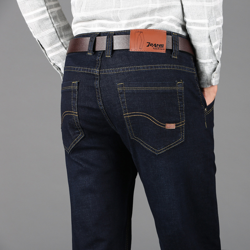 Spring and summer hot sale mens jeans loose fit straight tube jeans mens Plus Size elastic mens pants factory direct sale