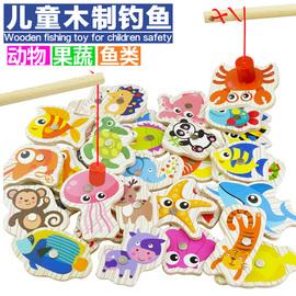 木质磁性婴儿童钓鱼玩具套装1-2-3周岁半小孩子男女孩宝宝益智力
