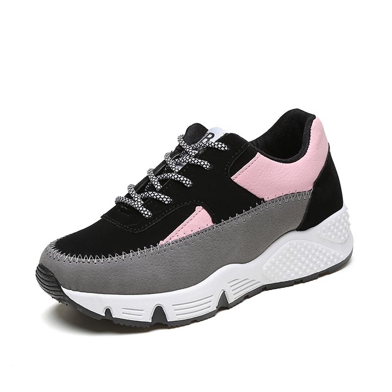 鞋女秋鞋平底厚底學生2016 鬆糕鞋跑步板鞋 鞋女鞋