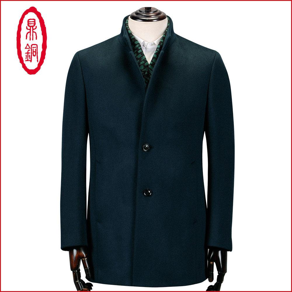 男士羊毛大衣男装冬款高端商务休闲立领中长款中年单排扣毛呢外套