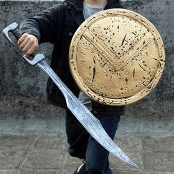 古代仿真兵器模型道具盾牌斯巴达国王剑儿童玩具刀武器男孩拨刀剑