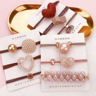 日韓版簡約可愛髮圈套裝 珍珠愛心頭繩女 皮筋發繩 頭飾手鍊兩用